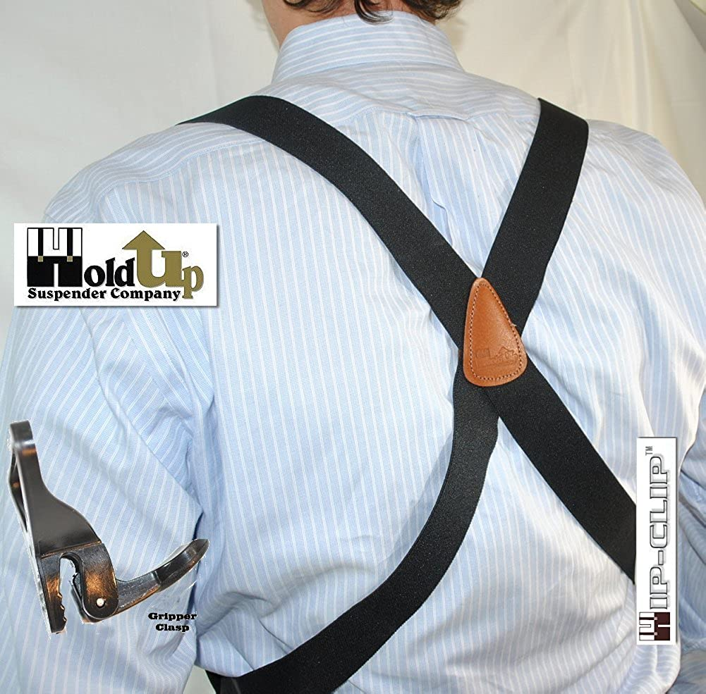 Hold-Up Black Hip-clip Style Suspenders 1 1//2 Wide with Patented Gripper Clasps 6407PL