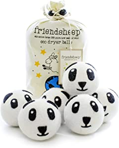 Friendsheep Wool Dryer Balls 6 Pack XL Organic Premium Reusable Cruelty Free Handmade Fair Trade No Lint Fabric Softener - Panda Pack