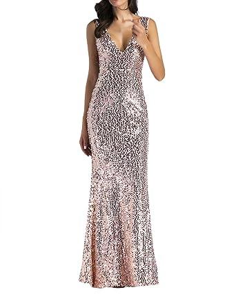 SOMTHRON Womens Sexy Deep V Neck Sleeveless Long Bodycon Rose Gold Sequin Party Ball Dance Dress