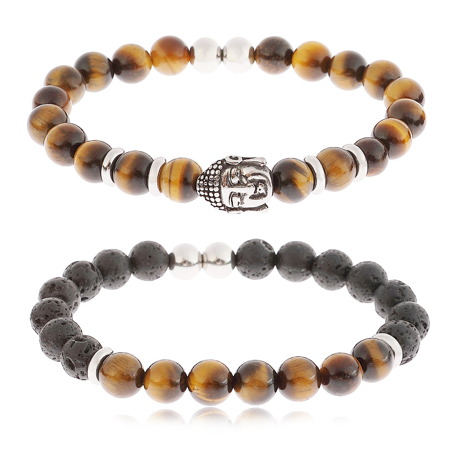 YILIBAO 8mm Tiger Eye Stone Lava Rock Bracelet Essential Oil Diffuser Yoga Beads, Stainless Steel Jewelry