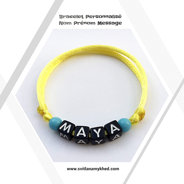 achats large choix de designs joli design Bracelet personnalisé avec prénom MAYA (réversible): Amazon ...