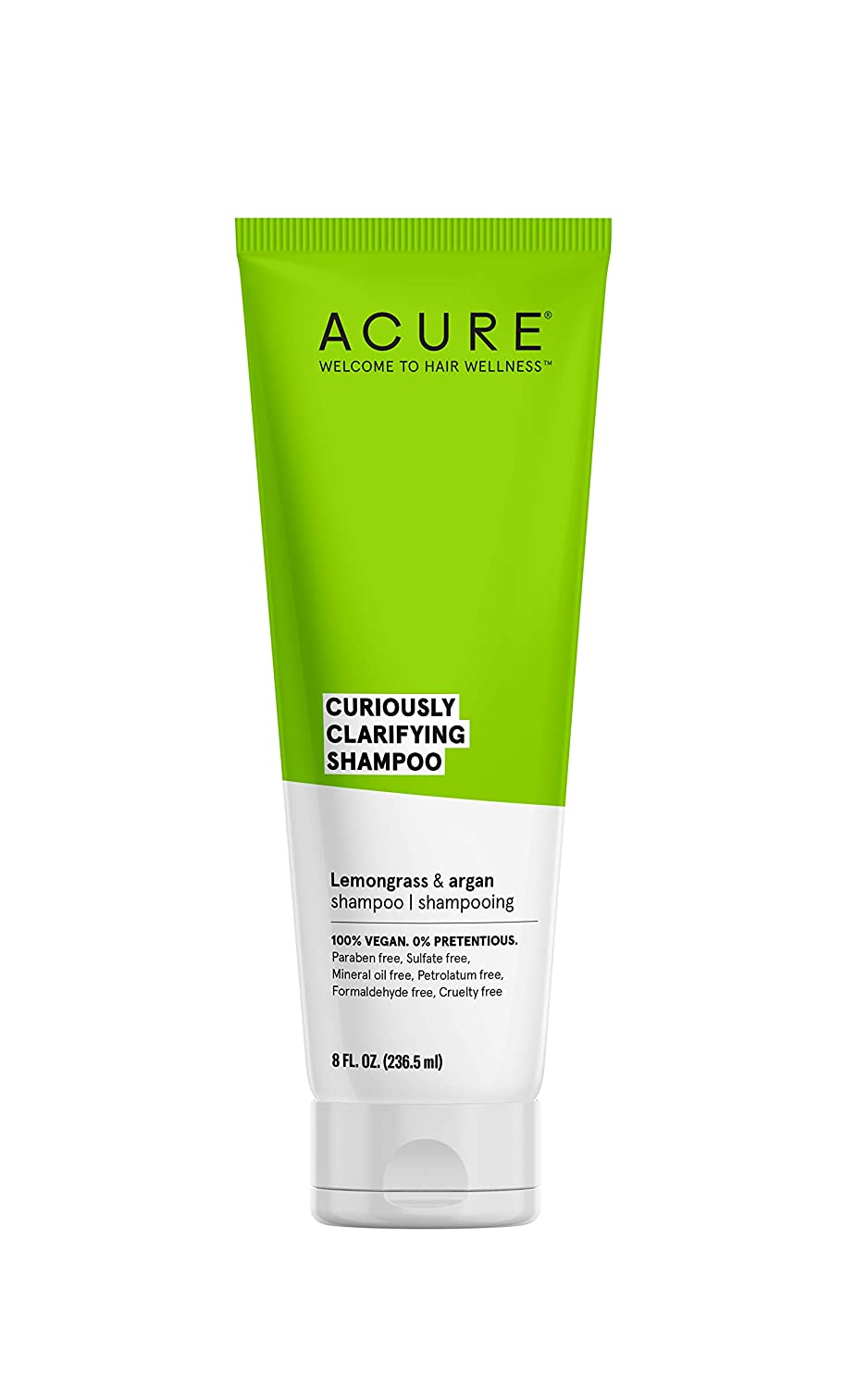 ACURE Curiously Clarifying Shampoo - Lemongrass & Argan | 100% Vegan | Performance Driven Hair Care | Gently Cleanses, Removes Buildup, Boost Shine & Replenishes Moisture | 8 Fl Oz