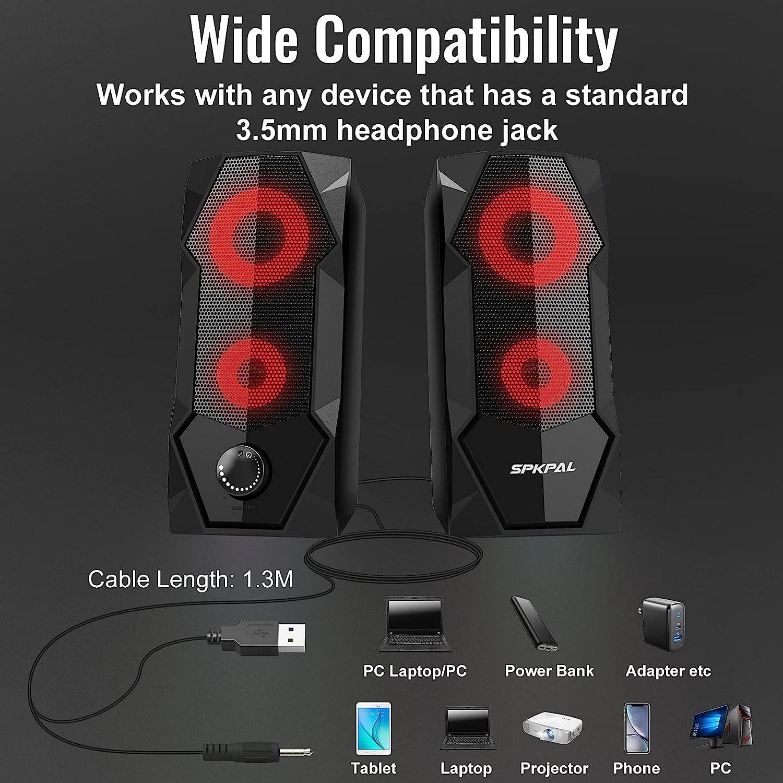 Enceinte PC Haut Parleur PC 2.0 Enceintes PC Gamer 10W USB Filiaire Prise Jack 3.5mm LED Gaming Baffle PC Aliment/ée par USB Volume Contr/ôle pour TV PC Ordinateur de Bureau Home Cin/éma