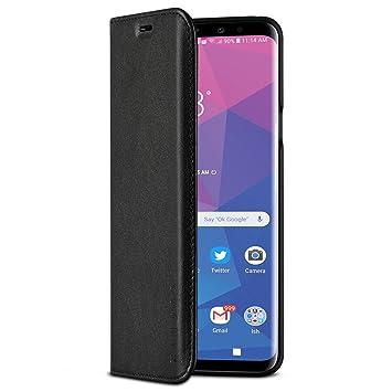 KANVASA Funda Galaxy S9 Plus Tipo Libro Piel Negro Case Cover Carcasa Plegable Cartera Pro en Piel Auténtica Premium para Samsung Galaxy S9+ (6,2