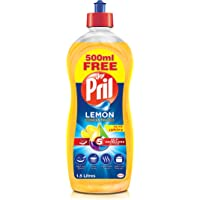Pril Dishwashing Liquid - Lemon (1.5 Litres), with 5+ Self-Degreasing Action Power, Long-Lasting Formula for Stains…