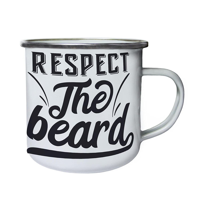 Respect the Beardレトロ、Tin、エナメル10ozマグn780e B0749CLP1W