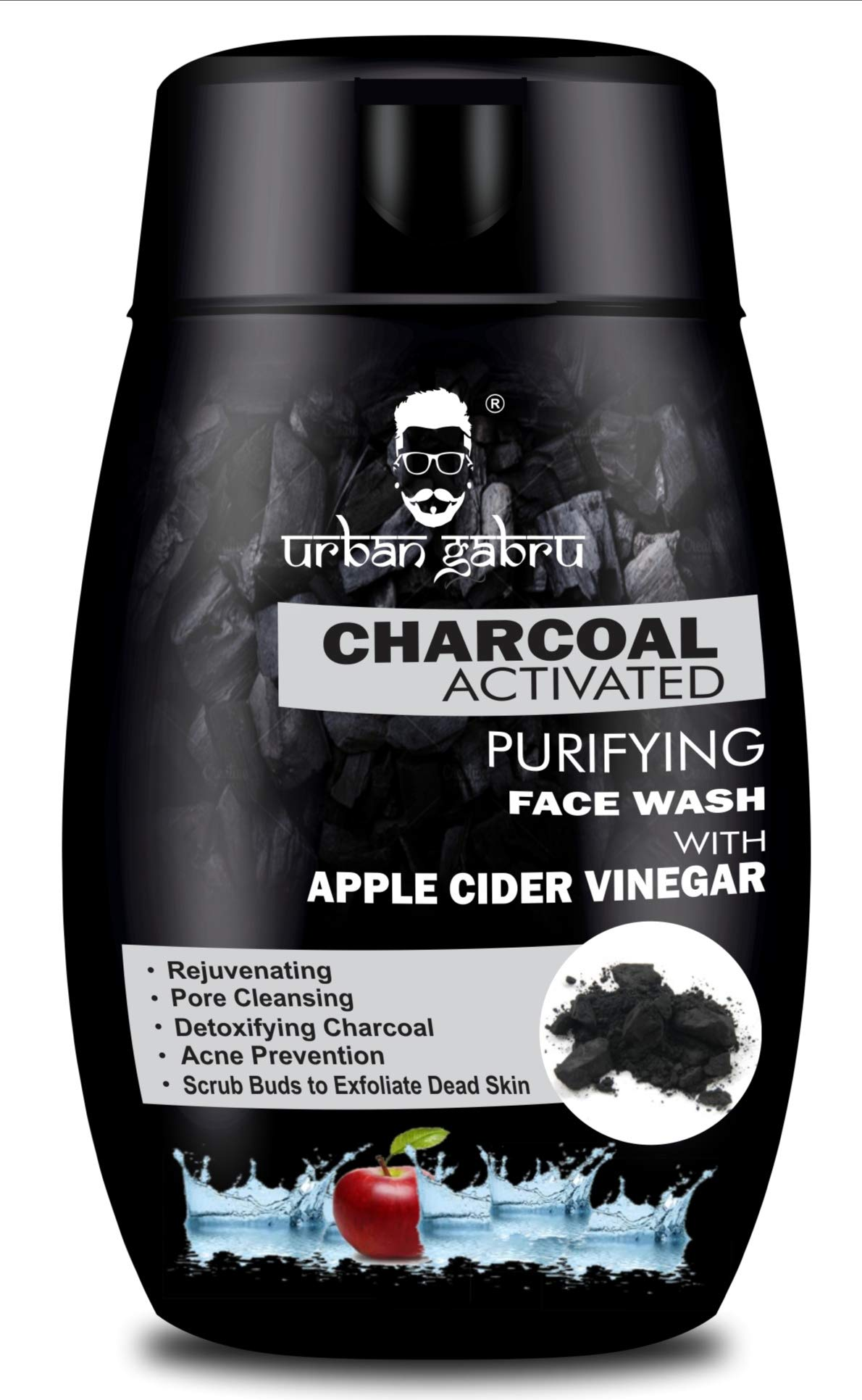 UrbanGabru Charcoal Face Wash with Apple Cider Vinegar for Pimple / Acne control and clear Glowing Skin(120g) product image