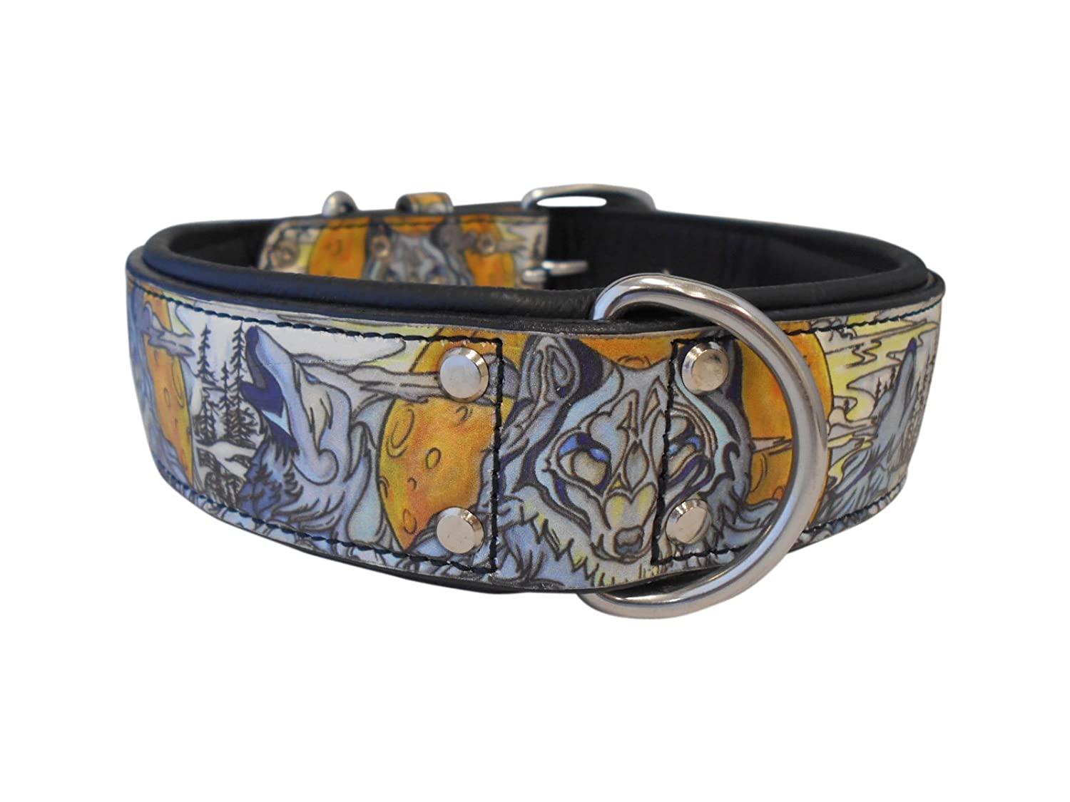 Angel Pet Supplies 70017 Wolf's Den Leather Dog Collar, 24  X 1.5 , Midnight Black
