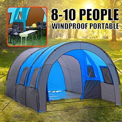 Amazon Com M Kvfa 8 Person Tent Oxford Cloth Double Layer Waterproof Family Tunnel Tent For Camping Outdoor Travel Hiking Sports Outdoors