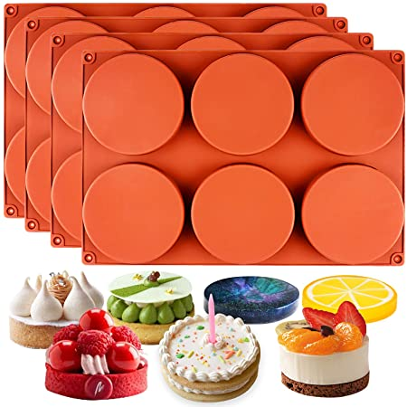 Funshowcase Round Disc Baking Silicone Mold 6-Cavity, 4inch, Circle Epoxy Resin Tray, Chocolate Cake Pie Custard Tart Muffin Sandwiches Eggs Bakeware, Soap Concrete Cement Plaster Pan, 4-Bundle
