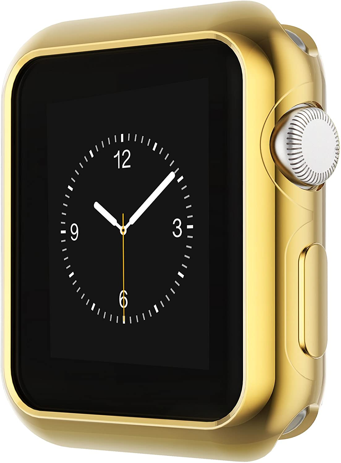 Coobes Compatible with Apple Watch Case Series 6 5 4 SE 44mm 40mm, Ultra-Thin TPU Plating Bumper Shiny Lightweight Shockproof Protector Cover Slim Shell Frame Compatible iWatch (Gold, 44mm)¡