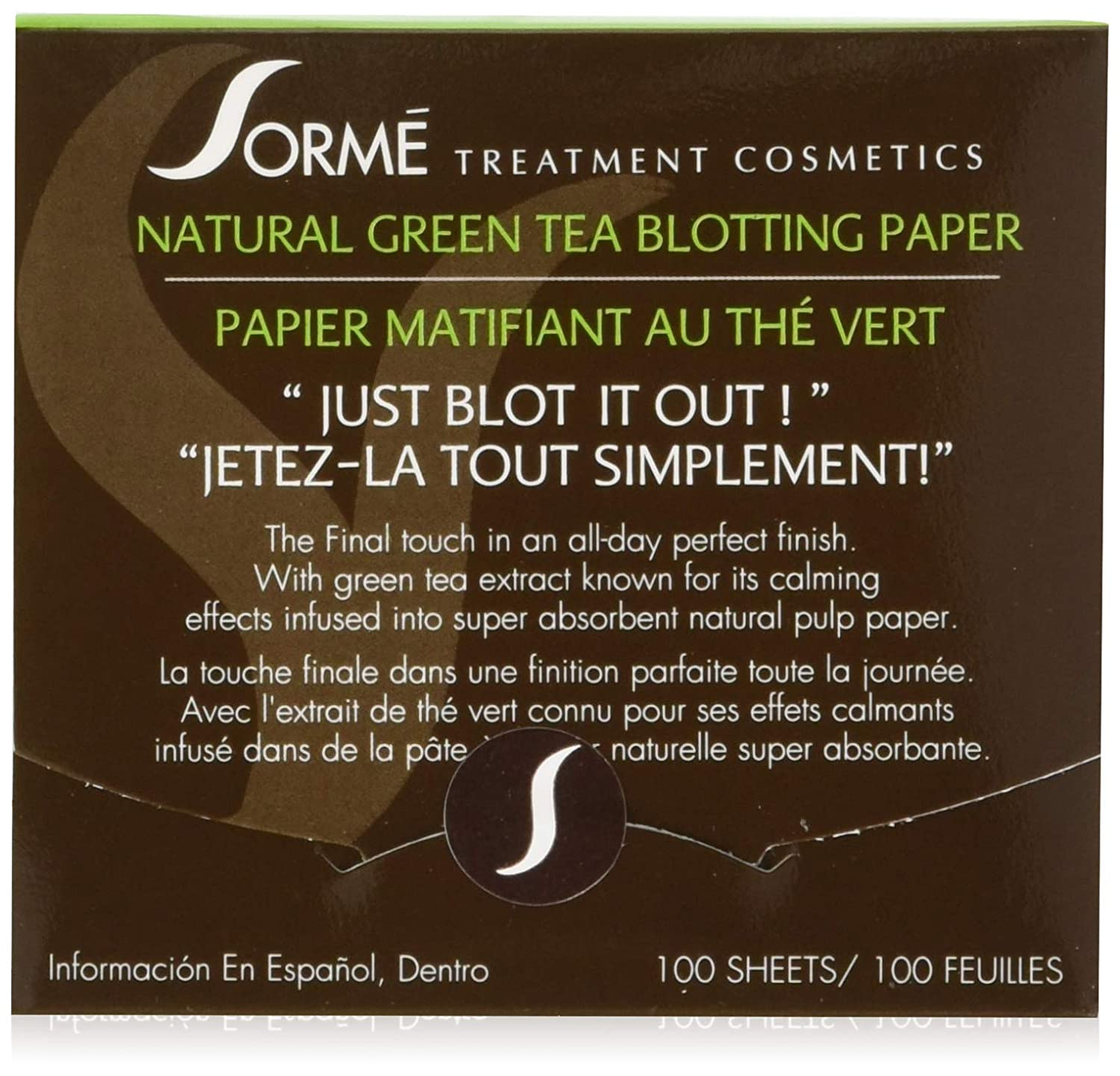 Sorme' Treatment Cosmetics Blotting Paper, Green Tea, 0.5 oz.