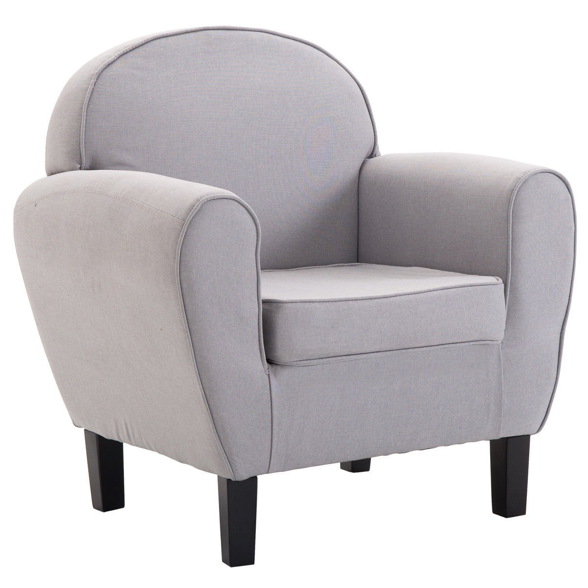 Giantex Arm Chair Single Sofa Modern Leisure Accent Chair Linen Upholstered Club Living Room Furniture Barrel Chair w/Removable Cushion Solid Wood Frame (Light Gray)