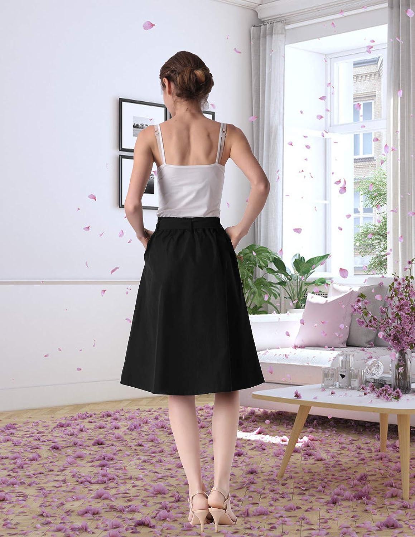 ANGGREK Mujer Falda de Cintura Alta de una L/ínea Falda Bot/ón Midi Casual