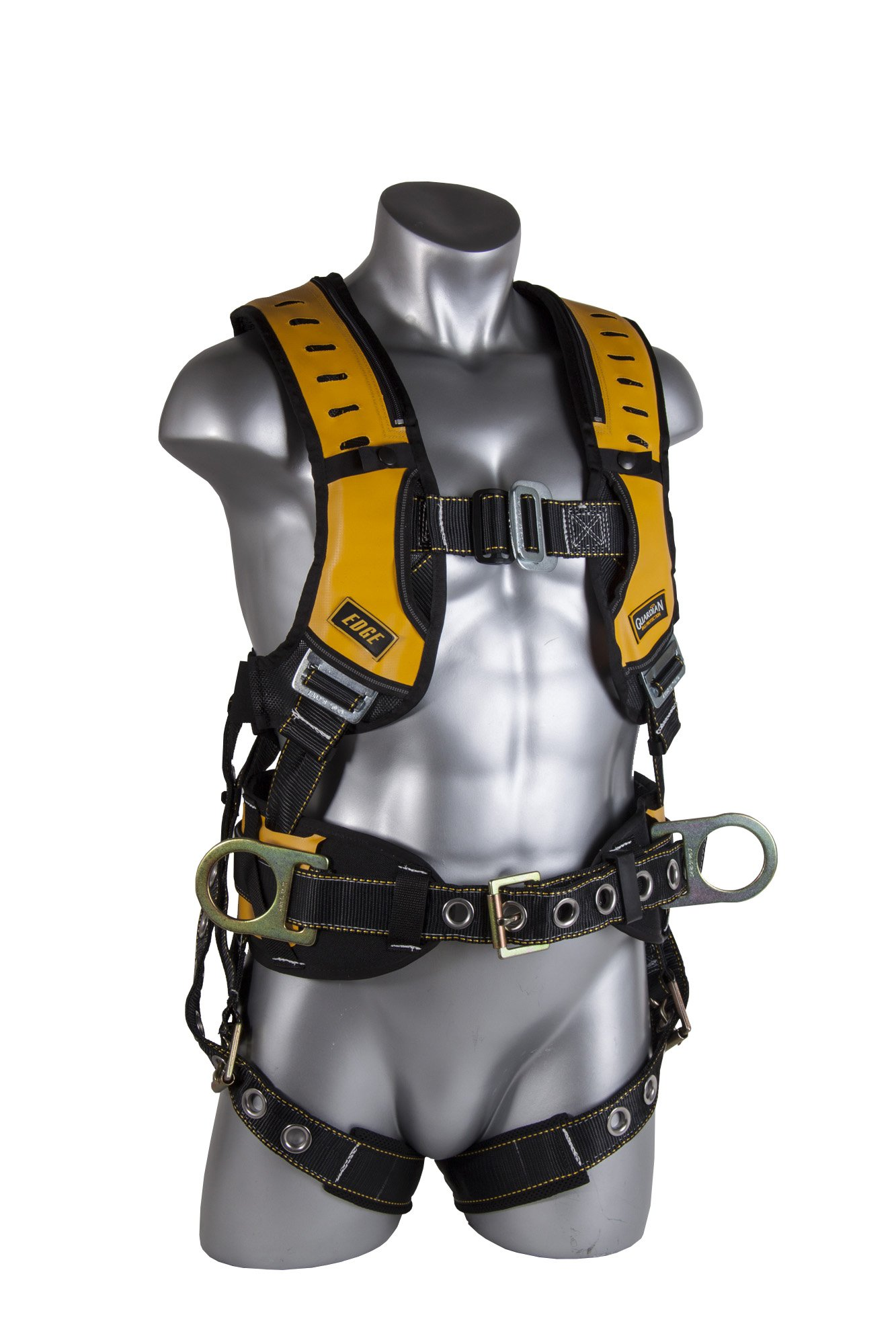 Guardian Fall Protection 193061 Construction Premium Edge Harness with Pass-Thru Chest Buckle, Waist Tounge Buckle and Leg Tounge Buckles, M-XLarge