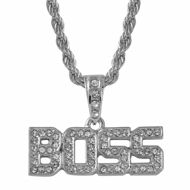 Bling King, versilberte Boss Wort Anhänger Eisernes Seil Kette Hip Hop Bling Halskette sp561