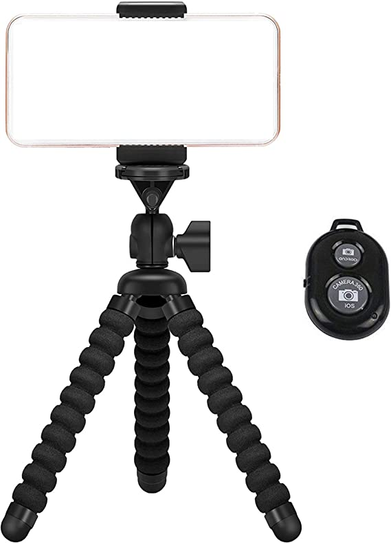 Phone Tripod,Premium Flexible Phone Tripod and Phone Stand with Wireless Remote Shutter,Compatible with iPhone Xs Max Xr 8 7 6 6s Plus Samsung Galaxy S10 S9,Gopro and More Android