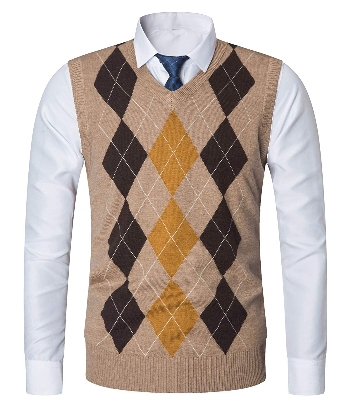 Yingqible Mens Casual Knitwear V-Neck Sleeveless Slim Fit Argyle Pullover Knitted Sweater Vest