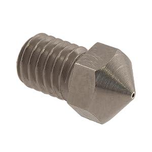 Micro-Swiss HW-NOZ-MODMK8-04 Plated Brass Wear Resistant Nozzles, 1.75 mm, RepRap - M6 (E3D/Hexagon) 0.4 mm, Bright Nickel