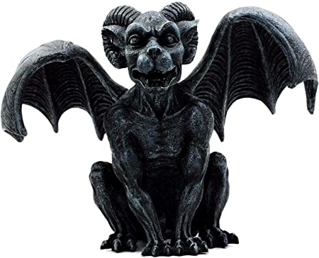 Ebros Horned Gargoyle Dreamer Figurine Sitting Statue 6.5 Inch Long Collectible