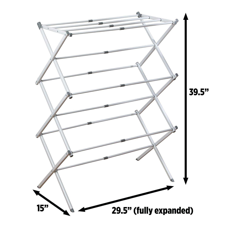 74,93 x 38,25 x 100,48 cm iDesign 39713EU /Étendoir Extensible Brezio pour buanderie-3 Compartiments Blanc//Gris Acier