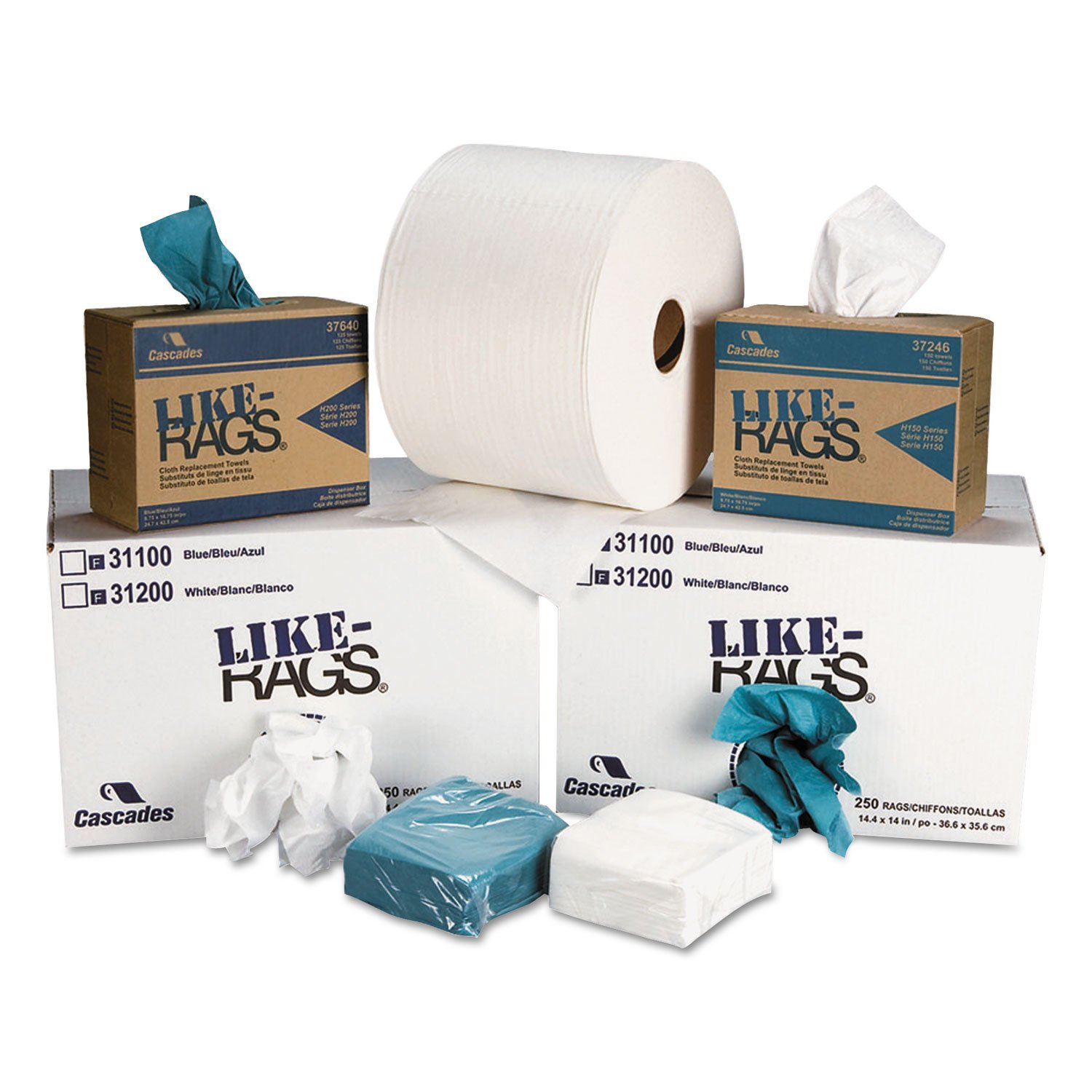 Amazon.com: Cascades 3333 Like-Rags Spunlace Towels, White, 9 1/4 X 12 1/2, 150/box, 9 Box/carton: Home & Kitchen