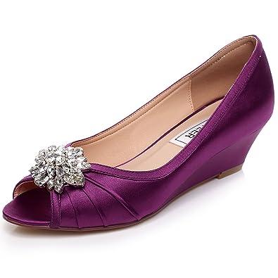 fdfb1cfa236 LUXVEER Purple Low Heel Wedding Wedges Shoes