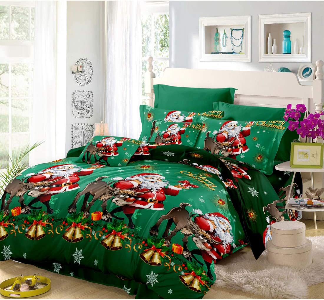 Oliven 4 Pieces 3D Christmas Bedding Set Full Size Cartoon Santa Claus Duvet Cover Flat Sheet Standard Pillowcases-Green,Christmas Home Decor