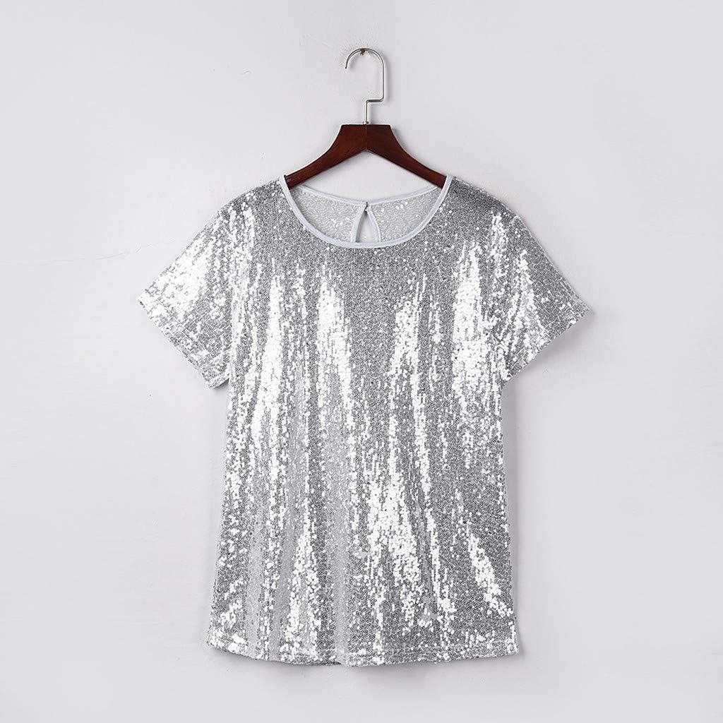 VEFSU O-Neck Short Sleeve Shiny Sequins Nightclub Casual Splice T-Shirts for Women (S-2XL) 61eQCr3bfnL
