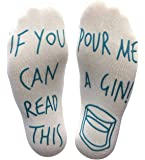 Vinsani 'If You Can Read This Pour Me A Gin' Funny Socks - Perfect Joke Novelty Gift for Men Women and Gin Lovers White