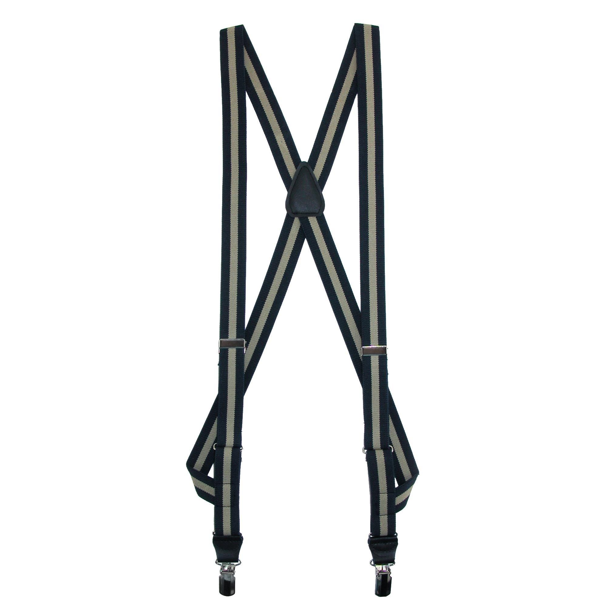 CrookhornDavis Men's Side Clip Elastic Striped Braces, Navy