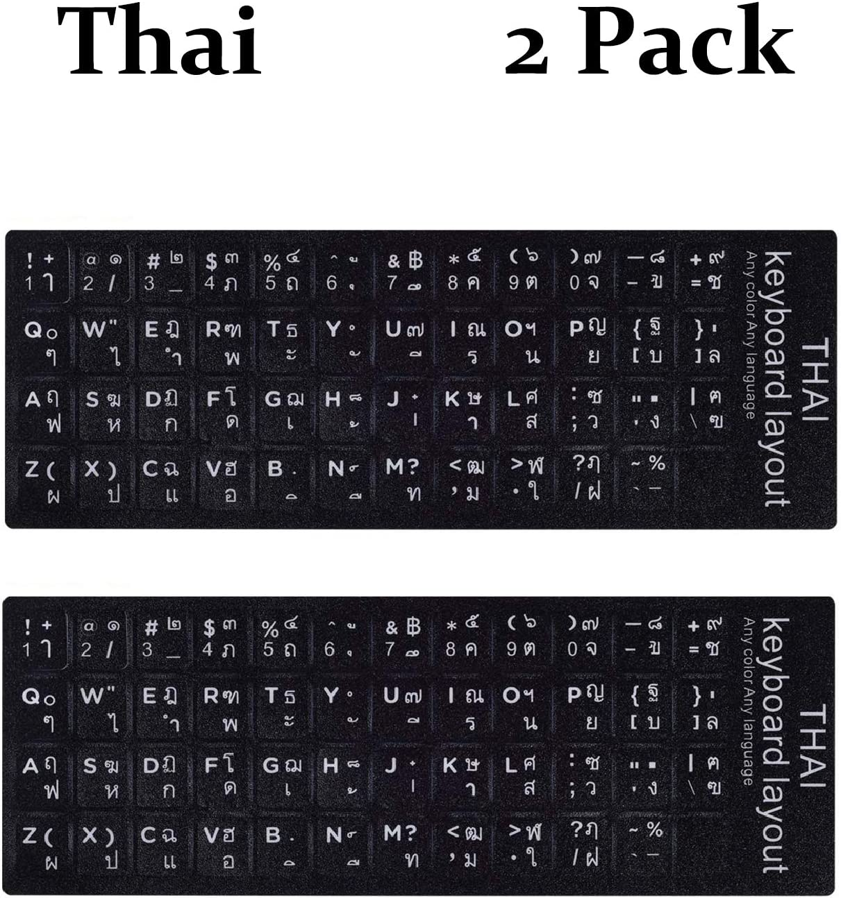 2PCSPackThaiKeyboardStickers,ThaiEnglishKeyboardReplacementStickerwithBlackBackgroundandWhiteLetteringforComputerNotebookLaptopDesktopKeyboards