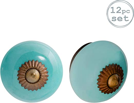 Tirador para cajones y armarios Azul turquesa Cer/ámica Pack de 12