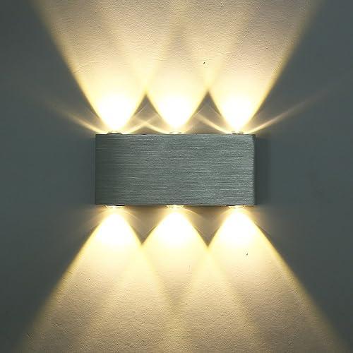 Maxmer Applique Murale 6W 6 LED Intérieure Mini Moderne en Aluminium Luminaire Lampe Moderne Designe Originale Lumière Eclairage Décoratif pour Chambre Maison Couloir Salon - Blanc Chaud