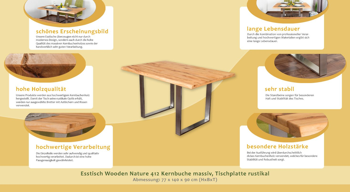 Esstisch Wooden Nature 412 Kernbuche massiv geölt, Tischplatte ...