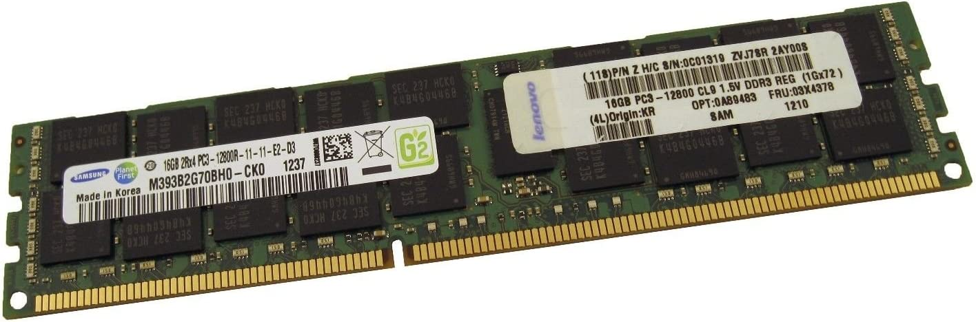 SAMSUNG 8GB 2Rx4 PC3-12800R DDR3-1600 ECC Registered 1.5V RDIMM M393B1K70DH0-CK0