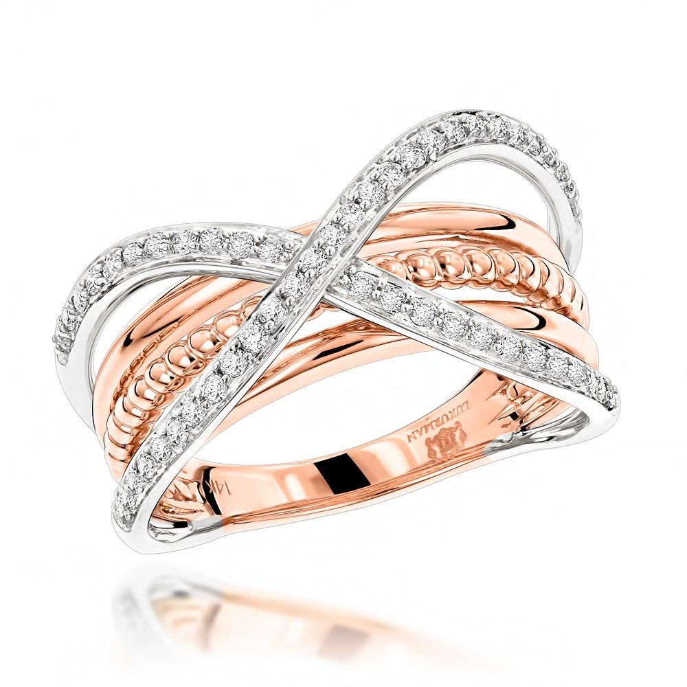 Luxurman 14K Gold Right Hand Criss-Cross Designer Ladies Natural Diamond Ring (Rose Gold Size 6.5)