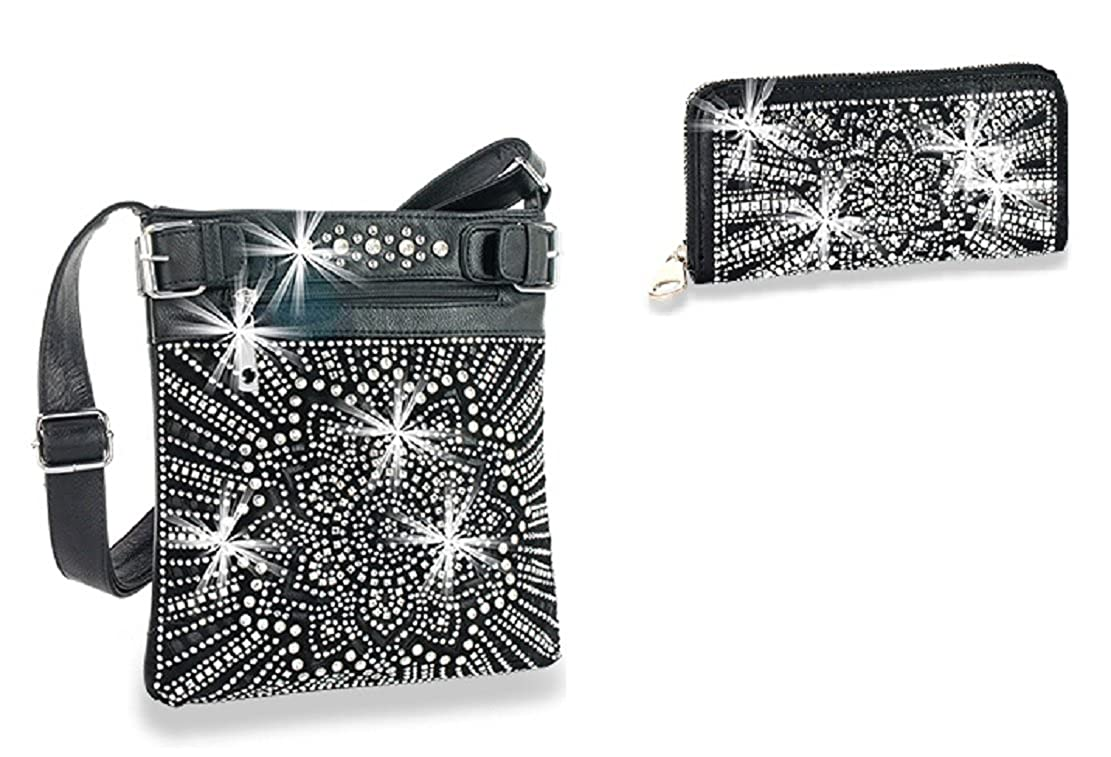 HX Bling Party Dressy Rhinestone Western Messenger Bag Purse Wallet Set Black