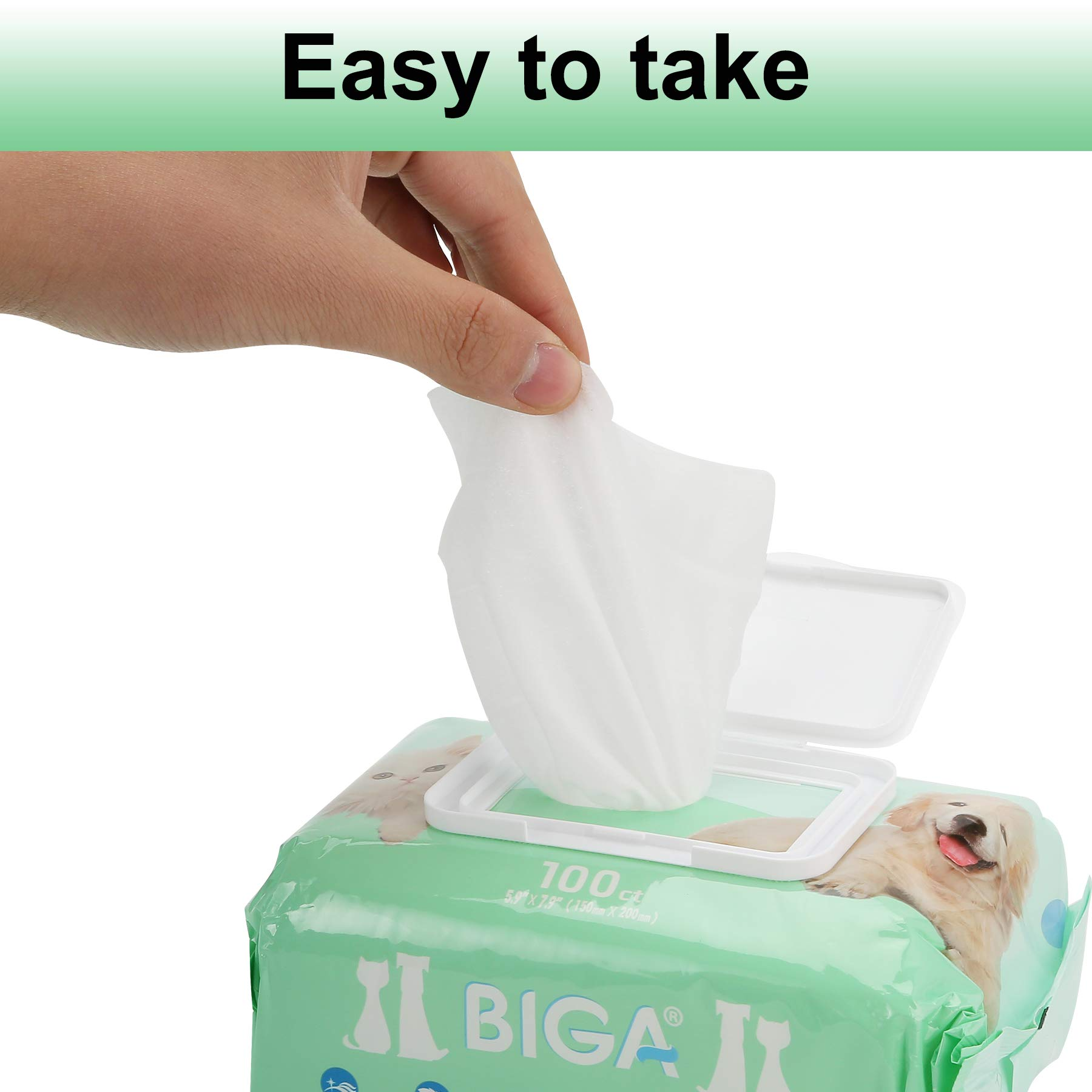 Deodorizing Hypoallergenic Pet Wipes with Fragrance Free Natural Organic and Antibacterial for Cleaning Face Butt Eyes Ears Paws Teeth 100ct per Pack (Aloe Vera 6 Pack) by BIGA (Image #6)