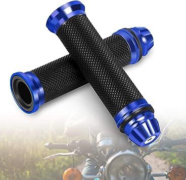 Motorrad Lenkergriffe Gummi Handgriffe Mit Aluminium Lenkerende Universal Für 7 8 22 Mm Lenker Blau Auto