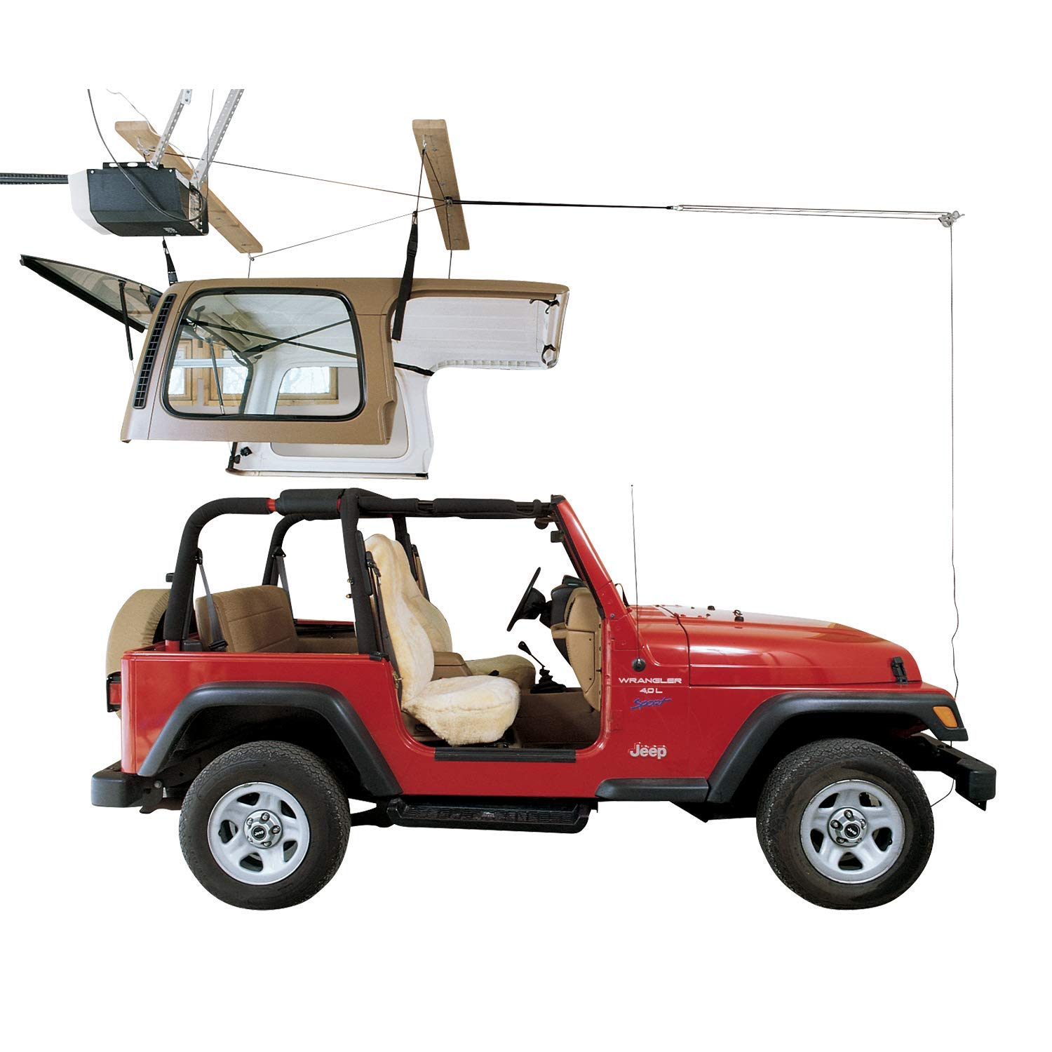 HARKEN Jeep Hardtop Garage Storage Ceiling Hoist | 4 Point Jeep System |6:1 Mechanical Advantage | Lift, Single-Person, Hanger, Pulley, Wrangler