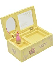 Elisona-Plastic Dancing Ballerina Mechanical Music Box Girls Kids Christmas Birthday Gift Yellow