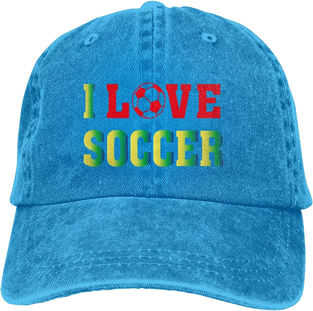 I Love Soccer Unisex Trendy Cowboy Casquette Adjustable Baseball Cap