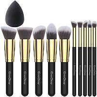EmaxDesign 10+1 Pieces Makeup Brush Set, 10 Pieces Professional Foundation Blending Blush Eye Face Liquid Powder Cream Cosmetics Brushes & 1 Piece Beauty Sponge Blender