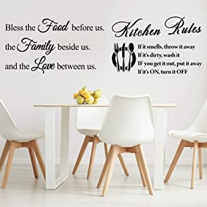 2 Pieces Kitchen Rules Wall Decals Art Mural Home Decor Sticker Vinyl Wall Quotes Saying Home Decor Wall Sticker Bless The Food Before Us Positive Kitchen Wall Decal for Dining Room Family Love