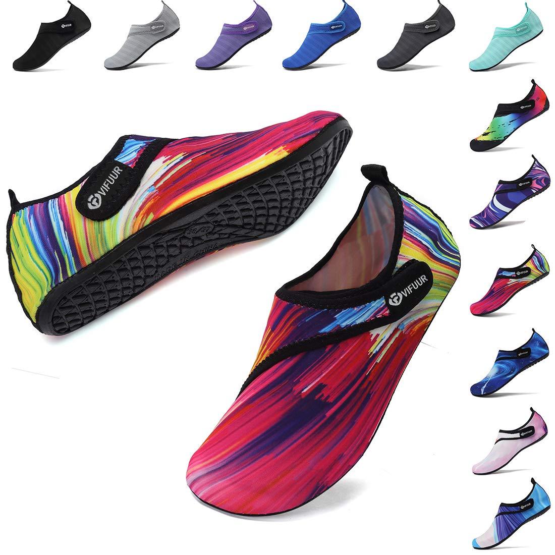VIFUUR Womens Mens Water Shoes Adjustable Mesh Aqua Socks for Outdoor Swimming Beach Surfing