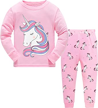 Little Girls Pajamas 100/% Cotton Long Sleeve Pjs Toddler Clothes Kids Sleepwear Shirts