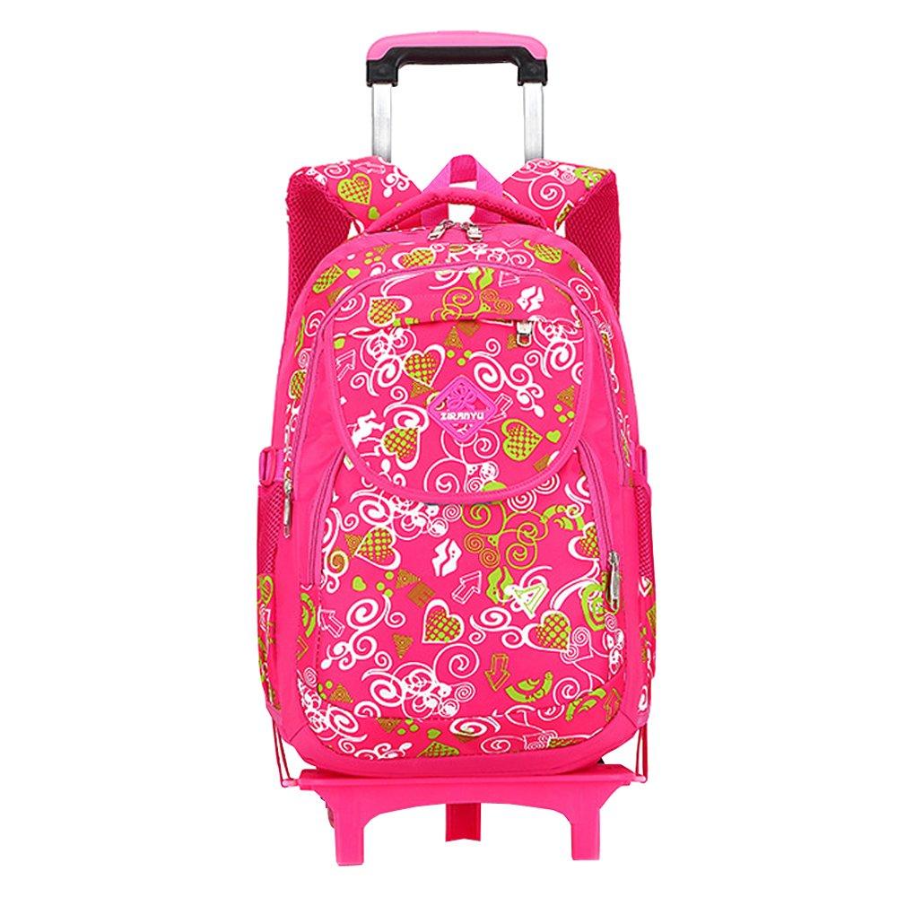 KINDOYO Zaino rossoolante Scuola Borsa - Sei Ruote Trolley borsa per Bambini Ragazza e Scolari Con Ruote, rosa Rosso