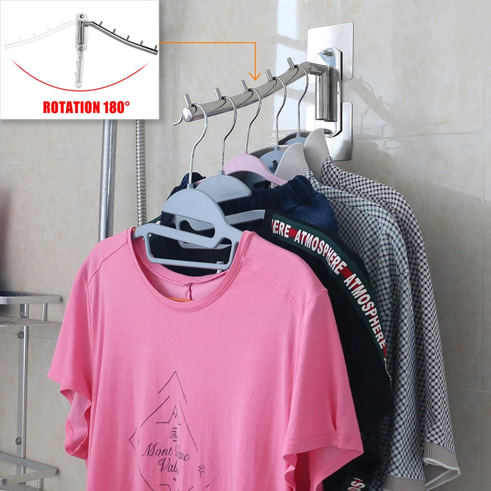 Folding Wall Mounted Clothes Hanger Rack Clothes Hook Stainless Steel 304 with Swing Arm Holder Clothing Hanging System Closet Heavy Duty Drying Rack ...