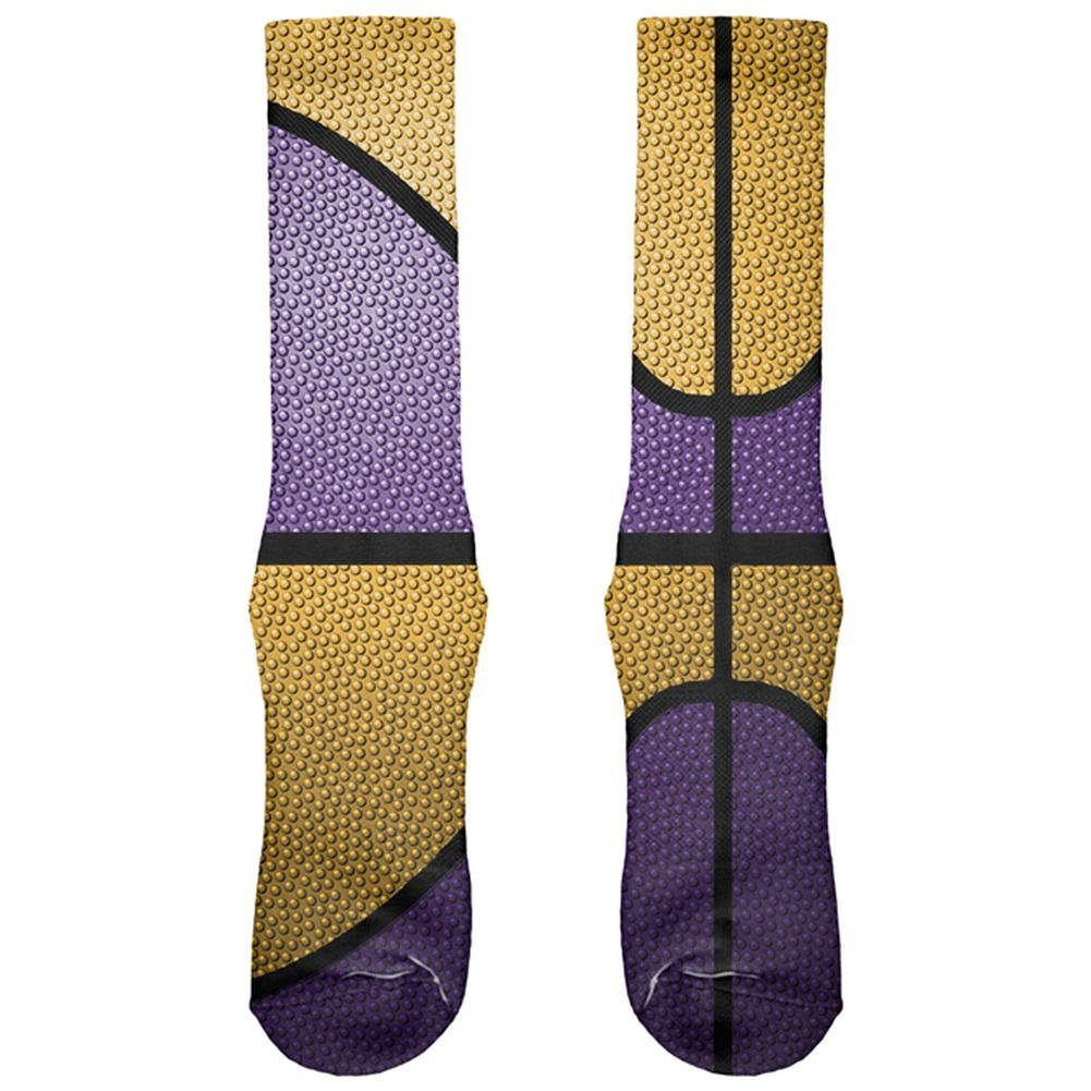 Championship Basketball Purple and Gold All Over Soft Socks Old Glory 00184238-WHT-OS